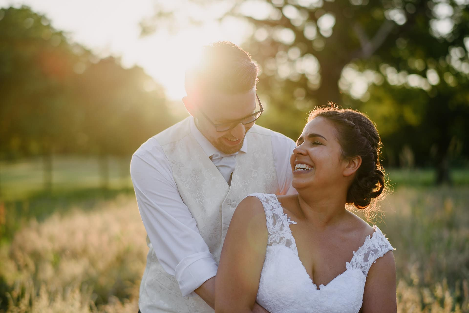 Bride and Groom at golden hour - Sprowston Manor Norfolk Wedding